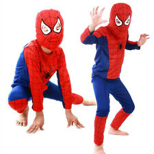 Halloween Costume Party Cosplay For Kids Boys Girl Red Spider-Man Suit Sz S M L
