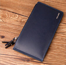 Thin Men's PU Leather Wallet Pocket Cards Holder Clutch Bifold Purse money clip