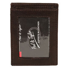 Paul & Taylor Mens Leather Front Pocket Credit Card ID Small & Thin Wallet