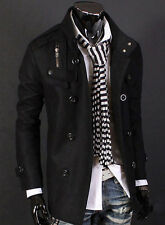 Mens Jacket Winter Men Double Breasted Trench Pea Coat Outerwear Parka Blazer