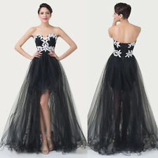 Masquerade Sexy Tulle High-Low Ball Gown Wedding Bridesmaid Evening Prom Dress