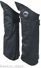 Mens Womens Motorcycle Half Chaps Leggings Solid Black Leather with Concho
