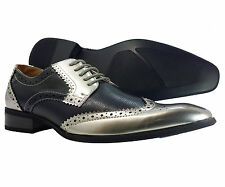 Mens Dress Shoes Majestic Black Silver Oxford Italian Leather Lining Style
