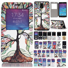 Window View PU Leather Flip Stand Case Cover For Samsung Galaxy Note 4 IV N9100