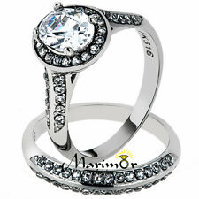 2.65CT OVAL CUT CUBIC ZIRCONIA HALO STAINLESS STEEL 316 WEDDING RING SET SZ 5-10