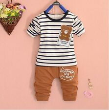 New baby kids boys 2pcs tops and pants set boys spring autumn suit bear