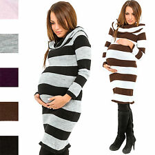 Happy Mama Pregnancy Maternity Women's Knitted Jumper Strech Dress Tunic 419