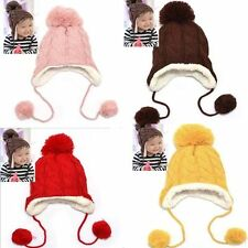 New Winter Beanie Baby Kids Child Warm Hat Earflap Crochet Knitted Wool Cap