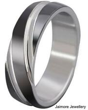 Mens Stainless Steel Band Silver / Black IP Commitment Wedding Ring Size US 9