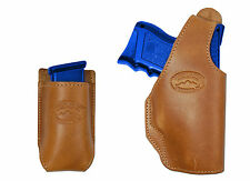 New Barsony Tan Leather OWB Holster + Magazine Pouch for Glock Compact 9mm 40 45