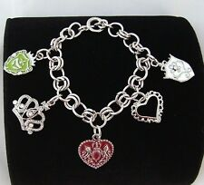 Cute Crown Heart Shield  Austrian Crystal Charm Gold or Silver Toggle Bracelet