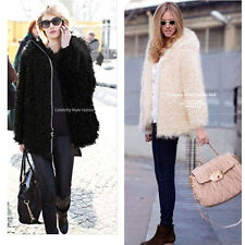 Womens Circling Hairy Shaggy Faux Fur Round Neck Long Sleeve Zipper Jacket Coat