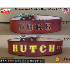 Custom Dog Collars for Pitbulls - Brown Leather Dog Collar - XL Collar with Name