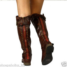 Contrast Rear Zipper Studded Riding Knee High Boot BROWN Size 6 to 10