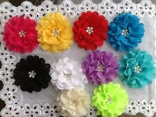 FRILLY LARGE100MM FLOWERS PEARLS WITH RHINESTONE IN MIDDLE PAD ON BACK GREAT