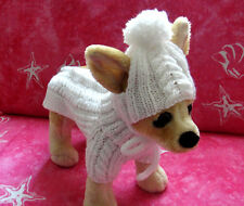 Pet Clothes Winter Apparel Hand-Made Outfit White Sweater / Hat  for Small Dog