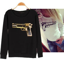 Hot Fashion Women's Gun Printed Hoodies Tracksuit  Long Sleeve Loose Sweatshirt