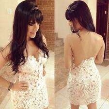 New Women's Sexy Club Party Cocktail Backless Lace White Mini Dress