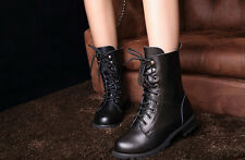 Womens winter Leather Military Combat boots mid calf plateform velvet shoes