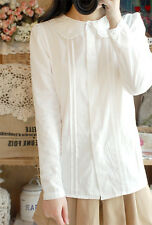 Cute Lolita French Toast Blouse 3Layers Peter Pan Collar White Shirt Long Sleeve
