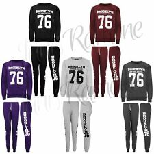 New Womens Ladies Brooklyn 76 Print Tracksuit Top Bottoms Jogging Sport Gym Suit