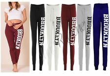 New Womens Brooklyn Side Print Bottoms Joggers Tracksuit Ladies Jogging Trousers