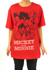 Disney Mickey & Minnie Mouse Sketch Graphic Print T-Shirt Plus Size Top Red