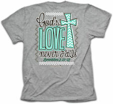 Cherished Girl Womens Gods Love Never Fails Christian T-Shirt. Free US Shipping!