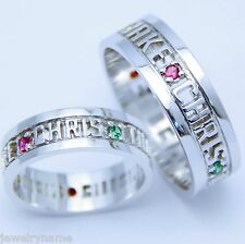 .925 STERLING SILVER PERSONALIZED CUSTOM ENGRAVED-MOM FAMILY NAME RING.5 to 7 MM