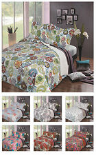 Quilted Bedspread Floral Patchwork Embroidered Cotton Bedding Set