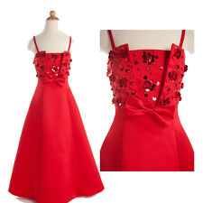 ❤XMAS GIFT❤ Cheap Beaded Flower Girls' Wedding Party Bridesmaids Dress Wears RED