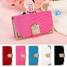 NEW Bling Diamond Flip Wallet Leather Slot Case Cover For iPhone 4s 5s 6 6 Plus