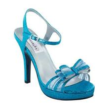 Turquoise Blue Glitter Raven Formal Prom Dance High Heel Platform Sandal Shoe