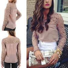 Fashion New Women Lace Crochet Embroidery Tops Long Sleeve Shirt Casual Blouse