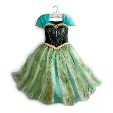 Kid Girl Princess Anna Green Tulle Party Long Fancy Party Coronation Dress 3-8T