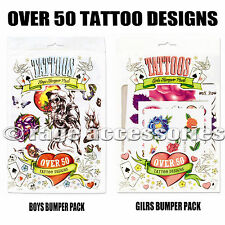 TATTOO BUMPER PACK TEMPORARY TATTOOS GIRLS OR BOYS OVER 50 VARIOUS DESIGNS NEW!