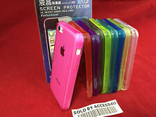 TRANSPARENT CLEAR SILICONE TPU GEL CASE & SCREEN PROTECTOR FOR APPLE IPHONE 5C