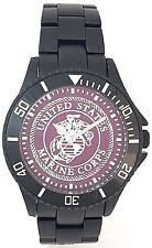 BLACK ALUMINUM MARINE CORPS  WATCH - USMC MEDALLION DIAL 2 DIAL COLORS - NEW