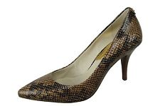 Michael Kors MK-Flex Mid Pump Heel Snake Skin Print Sand Brown Pointy Toe Shoe