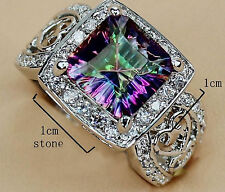 Stunning Rainbow Mystic Stone Woman Lady's 925 Silver Filled Ring Sz 6-10  -A126