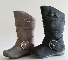 Youth Girls Black or Gray Suede Calf High Boots, Fashion, Shoes, Fast Shipping