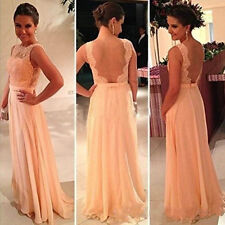 2014 Backless Lace Long Formal Evening Prom wedding bridesmaid Dress size 6 -16