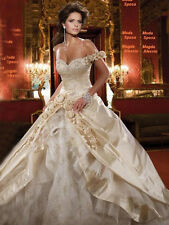 Faironly One Shoulder Champagne Wedding Dress Bridal Gown Size 6 8 10 12 14 16