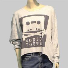 CUSTOMIZED diy BAGGY OVERSIZED CROPPED long sleeve T-SHIRT grey top S-L