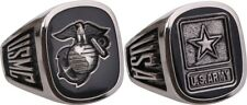 Military Forces Black Onyx Insignia Engraved Ring