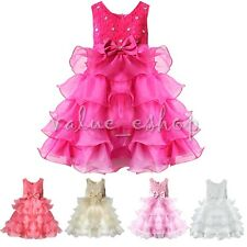 Christmas Flower Girls Wedding Party Bridesmaid Bowknot Tutu Layered Gown Dress