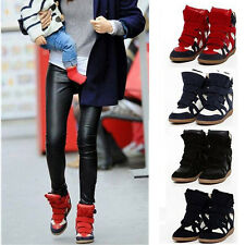 Hot Women Lady Velcro Strap High Top Wedge Hidden Heel Ankle Boots Sneaker Shoes