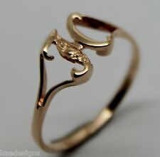 KAEDESIGNS, GENUINE, SOLID YELLOW OR ROSE OR WHITE GOLD 375 INITIAL RING H