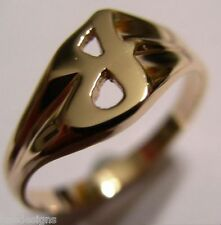 KAEDESIGNS, GENUINE, SOLID YELLOW OR ROSE OR WHITE GOLD 375 LARGE INITIAL RING J