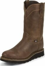 Men's Justin Worker II Rugged Western Work Boots Pull On Round Toe Wide WK4986